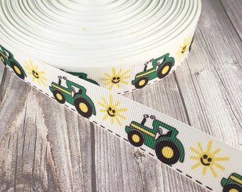 "Tractor ribbon - 7/8"" Grosgrain ribbon - Tractor sun - Crafting ribbon - Hair bow supply - Green yellow tractor - Tractors are fun"