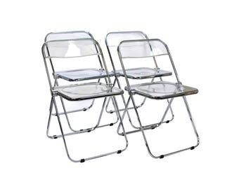 Set 4 Plia Castelli Italian Mid Century Modern Lucite Folding Chairs