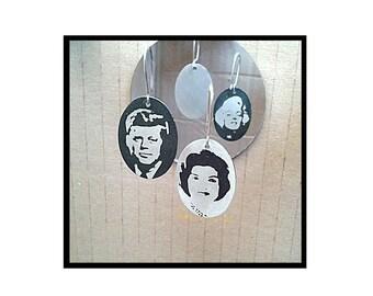 Earrings portraits. John, Jackie Kennedy and Marilyn Monroe.