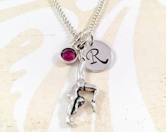 Gymnast Charm Necklace, little girl jewelry, charm necklace, gymnastics gift, birthday gift, team gift, for teen girl, acrobat, cheer