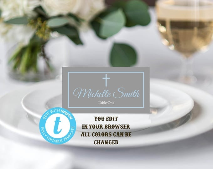 Baptism Place Cards, Place Cards Template, Instant Download, YOU EDIT, Dedication Place Cards, Christening Place Cards, Food Tents, Instant