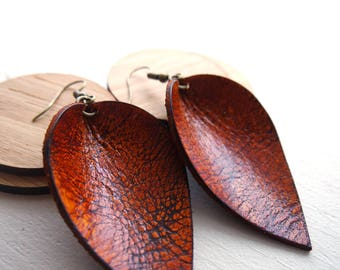 Distressed leather teardrop leaf shaped earrings / lightweight earrings / boho / 3rd anniversary gift / joanna gaines inspired