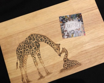 Pyrography hand burnt large wooden chopping/bread board