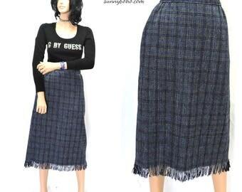Vintage 80 wool fringed skirt S 1980s plaid wool  fringe skirt retro high waisted wool long skirt blue fringe woven skirt SunnyBohoVintage