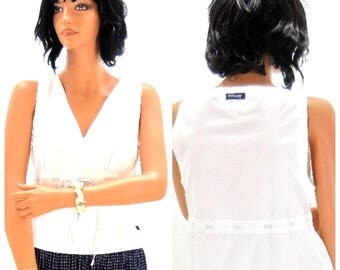 Vintage Tommy Hilfiger white cotton top  size M sleeveless Hilfiger cotton blouse nautical white shirt, SunnyBohoVintage