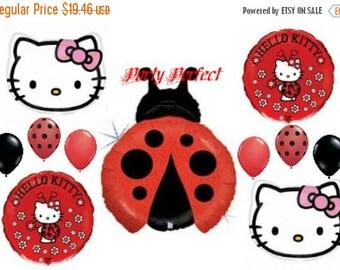 ON SALE 11 Pc Hello Kitty Ladybug Birthday Balloons bouquet kit Birthday party balloons