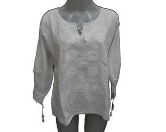 mexican blouse, mexican vintage cotton 100%, fits S-M M52