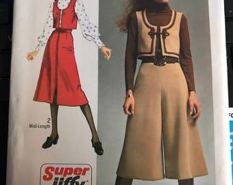 Vintage des années 70 simplicité 9102 gilet/jupe/Culottes motif-taille 12 (34-25 1/2-36)