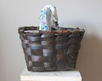 Vintage French Weaved Brown Basket