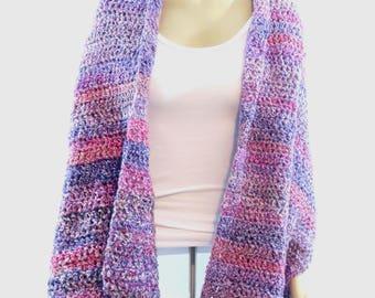 Shawl / Super Soft Crochet Shawl / Shawl / Women's Shawl / Crochet Shawl / Wrap / Lap blanket / Prayer Shawl / Purple Shawl / Pink Shawl