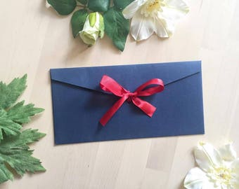 Ribbon close envelope, wedding invitation envelope, rsvp, thank you card, save the date, bridal shower card envelope