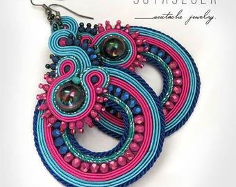 Colorful Dangle Earrings, Colorful Soutache Earrings, Handmade Beaded Jewelry, pink Earrings, Colorful Earrings, pink blue Earrings