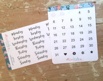 Date Dots and Days of the Week planner Stickers  Good for yse with Travelers Notebooks or Any Undated planner   LucKaty