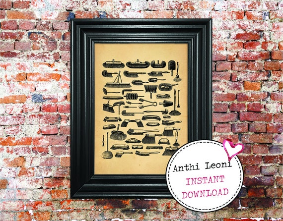 Antique Brush Instant download | Vintage Paper Household Kitchen Print Design | Old Brushes Book Illustration | Download and Print #0015