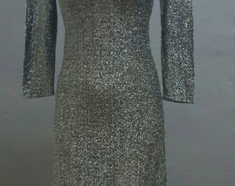 Beautiful 60s lurex sheath wiggle dress
