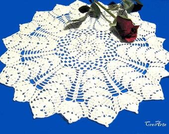 Round White crochet doily, Centrino bianco rotondo all'uncinetto