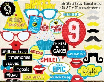 Photo Booth Props, HAPPY 9TH BIRTHDAY, boy, girl, selfie station, birthday party, red, blue, yellow, printable sheets, instant download
