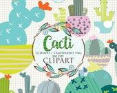 25%OFF - Cactus Clipart, Cactus Graphic, Cactus Clip Art, Cacti Clipart, Green Plants Pots, Plants Clipart, Summer Clipart, Desert Clipart,C
