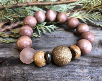 Vintage Stardust Bead African Recycled Trade Glass Hand Carved Bone & Wood Pyrite Gemstone Zen Boho Bracelet