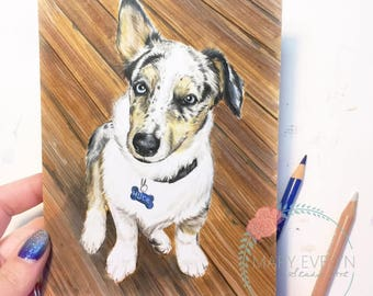 """5"""" x 7"""" Custom Color Pencil Pet Portrait Drawing with Optional Background"""