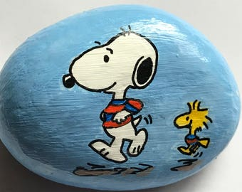 "Snoopy & Woodstock ""Jogging"" Reproduction Snoopy Peanuts Hand Painted Rock OOAK"