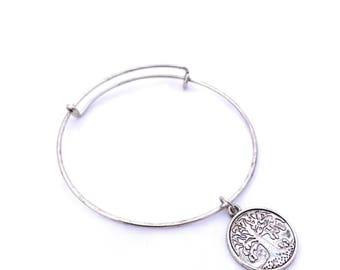 Silver Plated Tree of Life Dangle Charm Bracelet