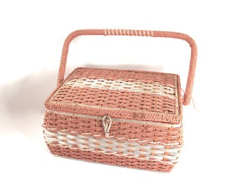Vintage sewing basket, 1960s or 70s, Dritz, wicker, sewing box, pink color, rope-like handle, orange satin interior, tray, pincushion