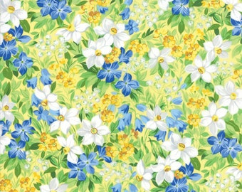 Moda SUMMER BREEZE V Quilt Fabric By The 1/2 Yard - Yellow 33300 12