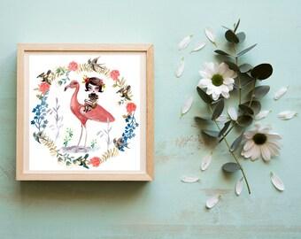 Flamingo and Pianist Girl - Art Print