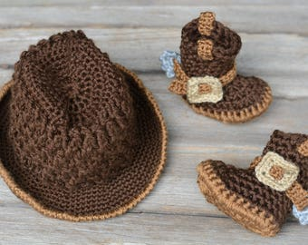 Crochet Cowboy Set, Dark Brown Baby Cowboy Hat and Boots, Photo Prop, Gift