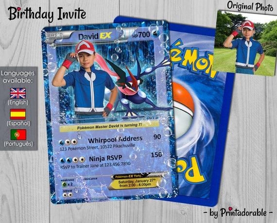 Pokémon Water Invitation - Water Type Pokémon Card - Pokemon GO Birthday Invitation and Poké Card - Digital or Printed File