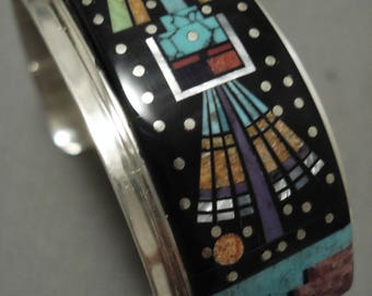 Midnight Space Kachina Wide Navajo Turquoise Silver Night Bracelet