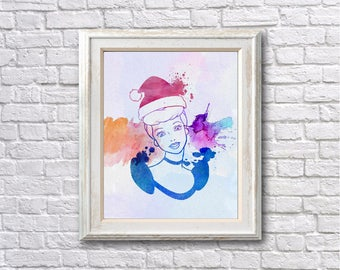 "Cinderella Christmas watercolor Murals ,8""x10""  JPEG & PDF file , Inspirational Quote, Digital Prints,Wall Art Prints, Digital Download"