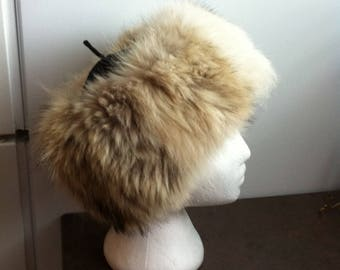 Vintage Fur Hat - Genuine Fur with Material Cap - Winter Hat - Gift for Her