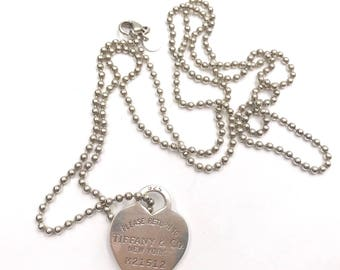 Tiffany & Co. Silver Vintage Return To Heart Tag Long Bead 81429 Necklace