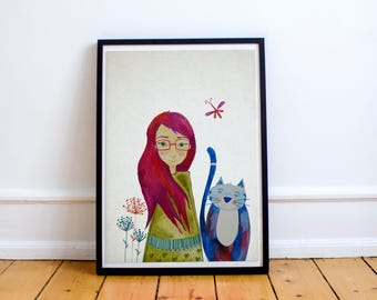 Red hair girl with cute blue cat watercolor illustration art print childrens room, nursery wall decor home hanging art decor