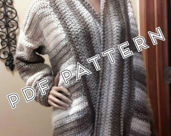 Crochet Pattern women's oversized sweater Brandi Cardigan Digital Download PDF Bulky yarn Pattern Only