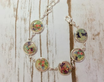 Free shipping!!! Bracelet with flowers, Bracelet with butterfly,Bracelet with polymer clay, Silver bracelet, Gift for her, Gift ideas