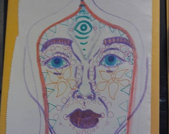 Abstract Portrait Doodle Hand Drawn by Kitty Kosmos