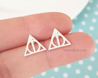 Deathly Hallows Earrings inspired by Harry Potter - Triangle Earrings - Triangle Jewelry - Potterhead - Potter - Harry - Christmas Gift -BFF