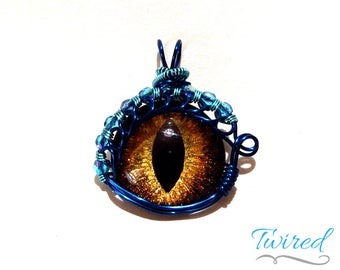Gold Hand-Painted Dragon Eye Pendant w/Blue Beaded Wire Wrap (with Necklace)