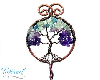 "Fluorite / Amethyst and Antiqued Copper Tree of Life Hair Stick (6"" Stem)"