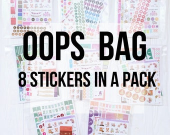 Oops Sticker Bags ( with some cut imperfections)  - 8 discounted  sticker sheets in each bag (a6  size only)