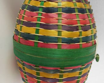 "15"" Large  Easter egg woven basket  hinged with lid multi colored wicker basket Easter basket"