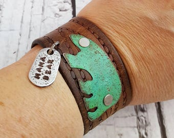 Mama Bear Cuff - Upcycled Leather Belt Cuff - Handpainted - Handstamped Pewter Charm Dangle - Mother Jewelry - Gift For Her - Turquoise