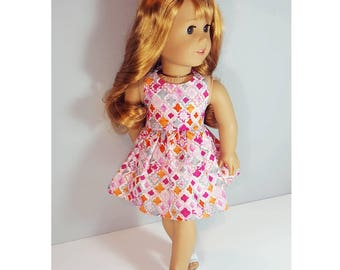 18 inch doll clothes - southwestern sunrise halter dress