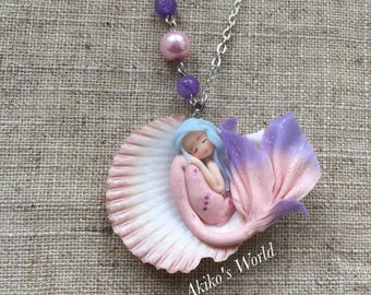 Tiny pink and purple mermaid in her sea shell- Stainless necklace - Sea necklace - Polymer clay doll -Fantasy jewel