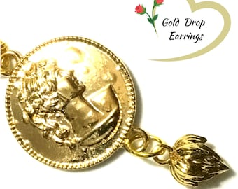 Gold Medallion Earrings, Regal Earrings, On Trend Earrings, Royal Xmas Gift, Sovereign and Lotus Drop Earrings, Free Local Shipping