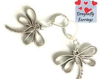 Antique Silver Dragonfly Earrings, Dragonfly Drop Earrings, Unique Silver Earring Gift, On Trend Earrings, Silver Dangle Earring Gift