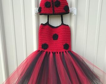 Girl's Ladybug Crochet Top Tutu Dress Costume